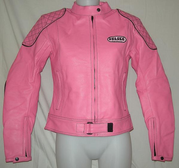 Veloce Pink Leather Ladies Biker Jacket
