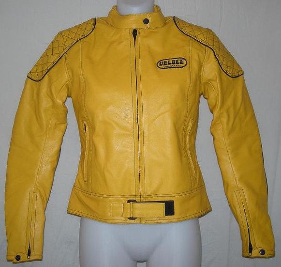 Veloce Yellow Leather Ladies Biker Jacket