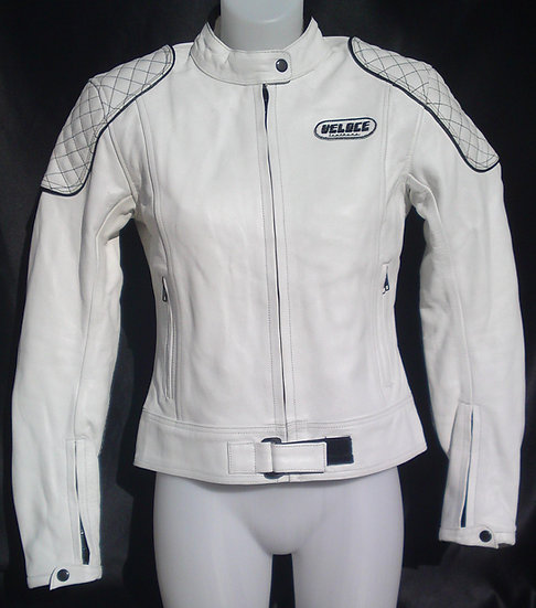 Veloce White Ladies Biker Jacket