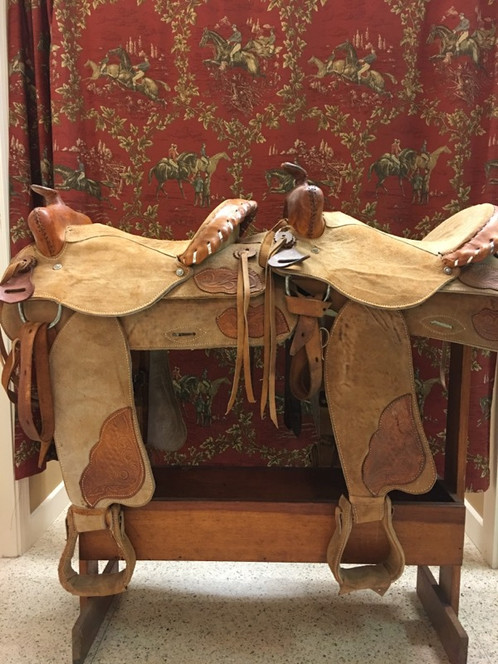 Twin tan roughout seat Western saddles