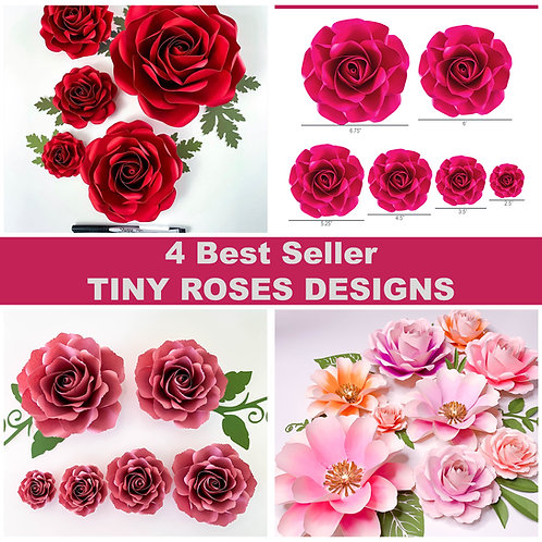 PDF Printable Files 4 Best Seller Tiny Roses Designs | Paper Flowers Templates |
