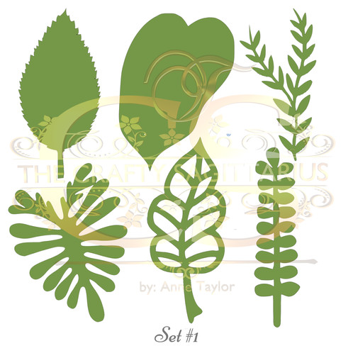 Svg png dxf set 1 6 different leaves for paper flowers machine use only mightylinksfo