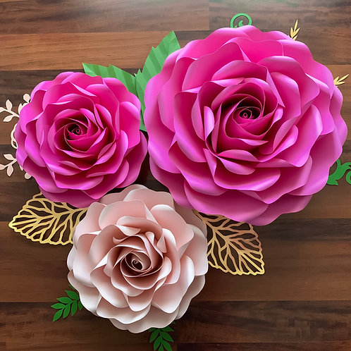 SVG PNG DXF Full size Tiny Rose 6 of Large and Medium Rose 6