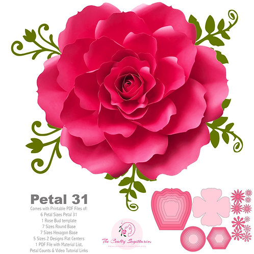 SVG PNG DXF Petal 31 Cut Files for Cutting Machines Diy Paper Flowers Templates