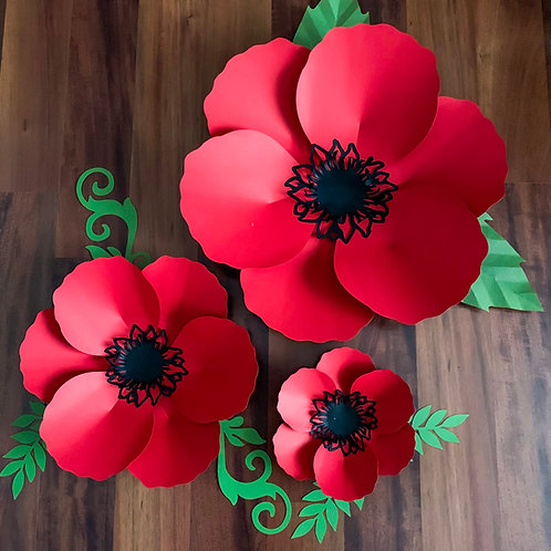 SVG DXF PNG Poppy Paper Flowers Template
