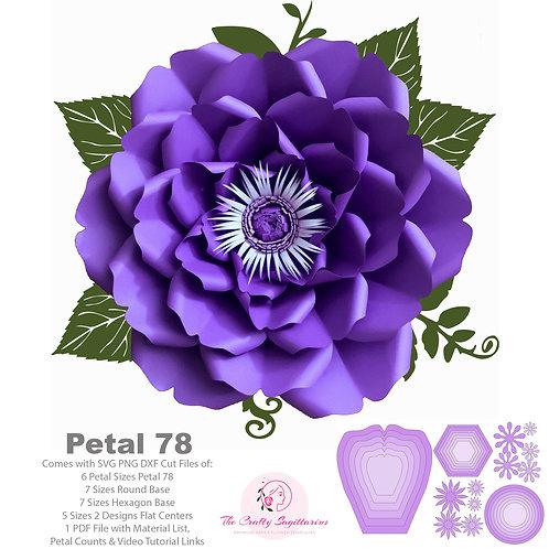 SVG PNG DXF Petal 78 Paper Flowers Template Cut Files
