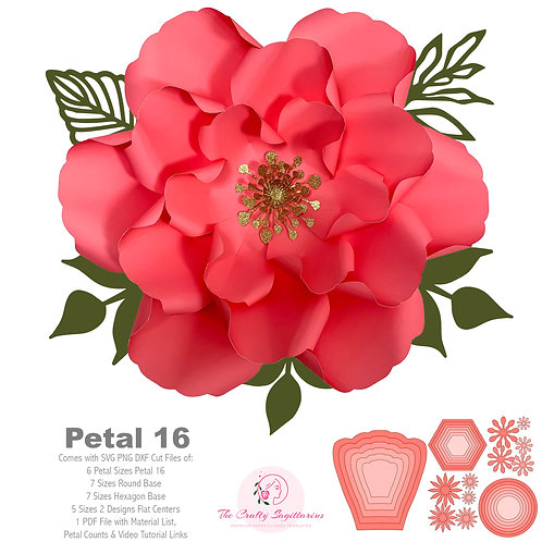 SVG DXF Petal 16 Paper Flowers Template Cutting Machines Ready