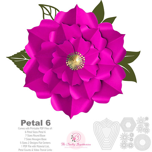 PDF Petal 6 Printable Paper Flowers Template for trace and cut