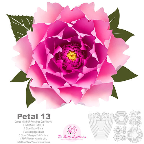 PDF Petal 13 Paper Flower Template with Base  Trace and Cut File
