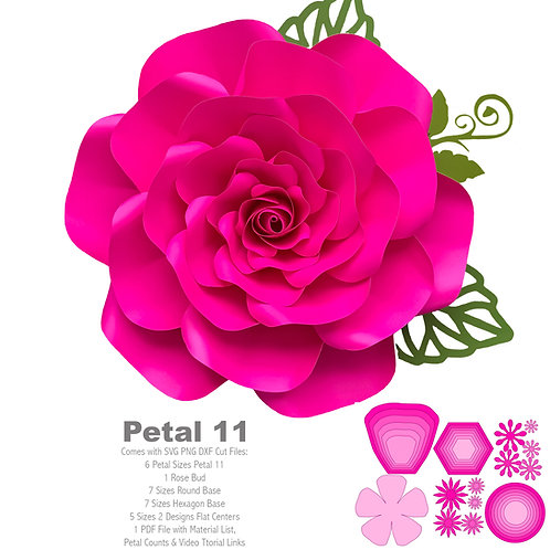 SVG PNG DXF Petal 11 Rose Cut Files for Cutting Machines like Cricut and Cameo