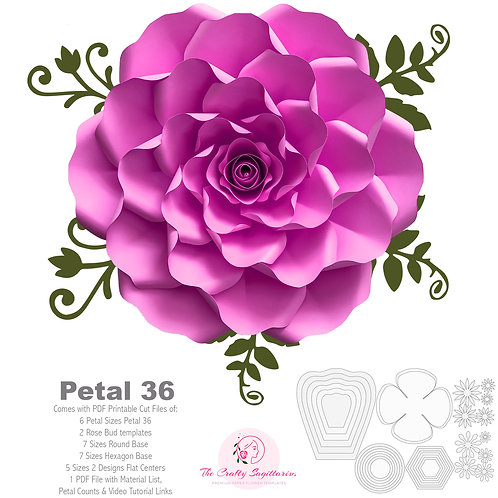 PDF Petal 36 Paper Flowers template w Rose Bub Center, printable for Cut & Trace