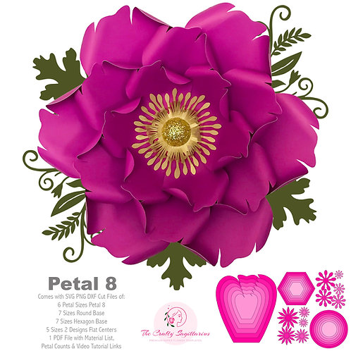 SVG PNG DXF Petal 8 Paper Flowers Template Cut File w/ Free Base n Flat Centers