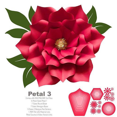 SVG Petal # 3 Paper Flower Template with Base, DIGITAL file for Cutting Machines