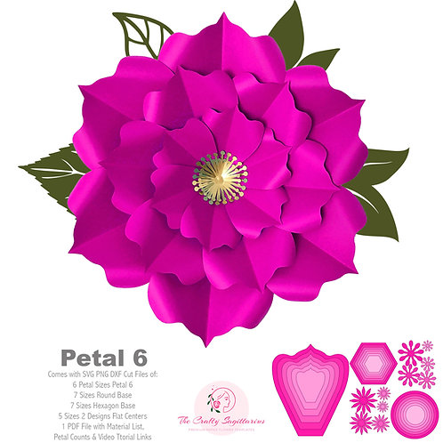 SVG PNG DXF Petal 6 Paper Flowers Cut Files for Cutting Machines