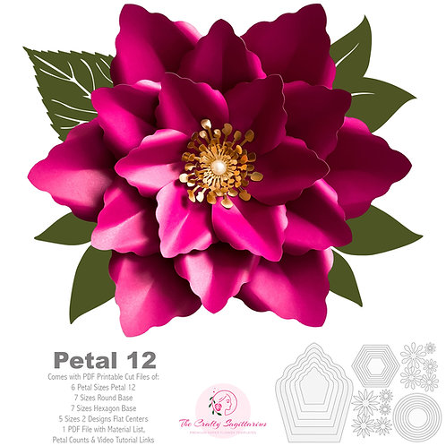 PDF Petal 12 Printable Paper Flowers Template Instant Download