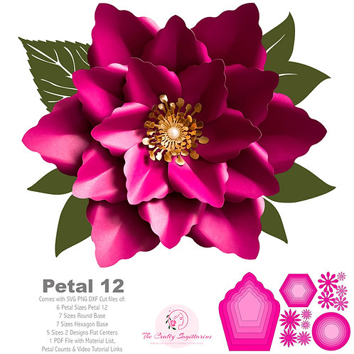 SVG PNG DXF Petal 12 Cut files Paper Flower Templates for Cutting Machines