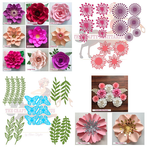 SVG Paper Flower COMPLETE Wall Combo: Flower Template Set- For Cutting Machines