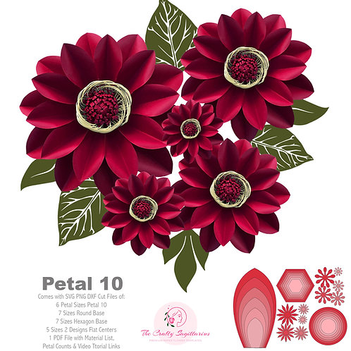 SVG PNG DXF Petal 10 Cut files Giant Paper Flowers Template Stencil Kit