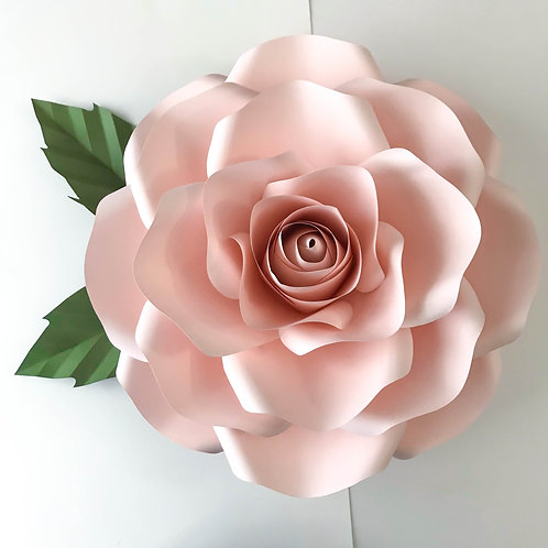 PDF New Large Rose Paper Flower template w/ Rose Bub Center, Digital Version, Or