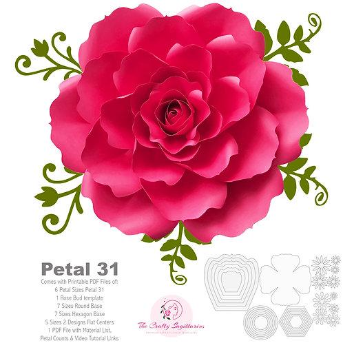 PDF Petal 31 Printable Giant Paper Flowers Template DIY Cut file