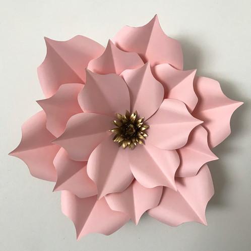 Pdf petal 5 paper flower cut trace stencil diy giant paper flowers mightylinksfo