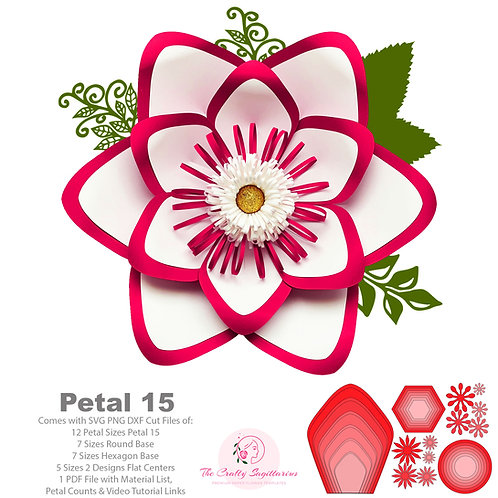 SVG PNG DXF Petal 15 Paper Flowers Template Base & Flat Centers Included