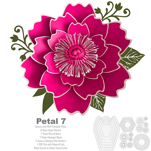 PDF Petal 7 Printable Giant Paper Flowers Template Stencil for trace and cut