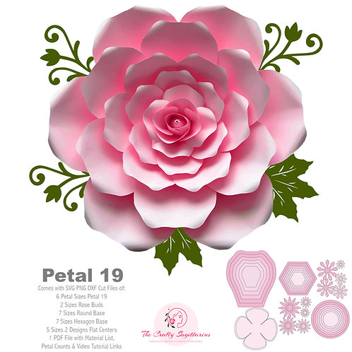 SVG PNG DXF Petal 19 Cut File Template for Diy Giant Paper Flowers w/ Rose bud