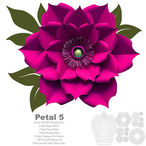 PDF Petal 5 Printable Paper Flowers template for Trace and Cut Purposes