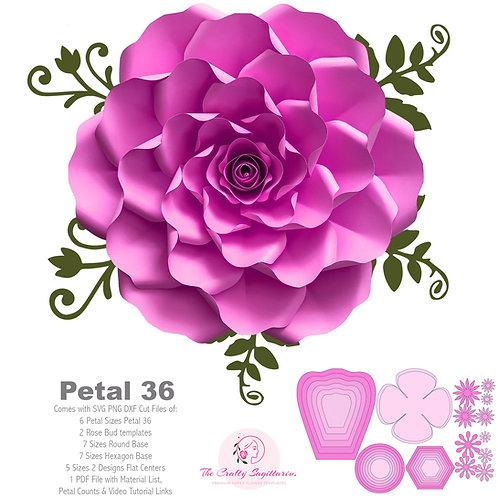 SVG PNG DXF  Petal 36 Paper Flowers Petal Template