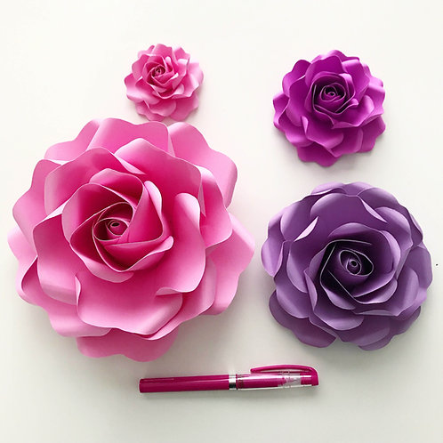 PDF Tiny Rose # 6 Paper Flower Templates Multiple sizes -Trace and Cut File