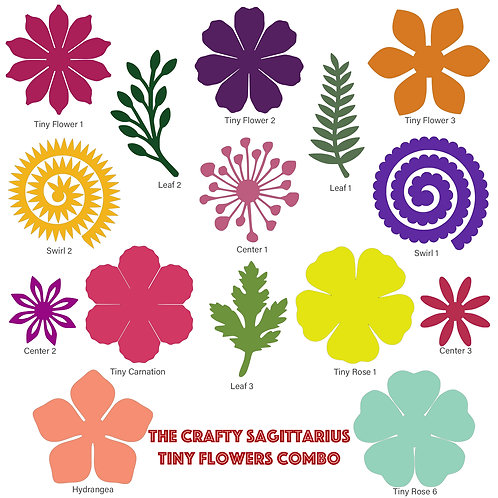 SVG DXF Complete Set of Tiny Flowers Components for Cutting Machines