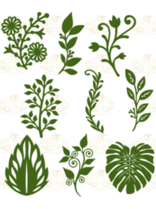 Set 12 SVG PNG DXF 9 different Leaves for Paper Flowers Machine use Only