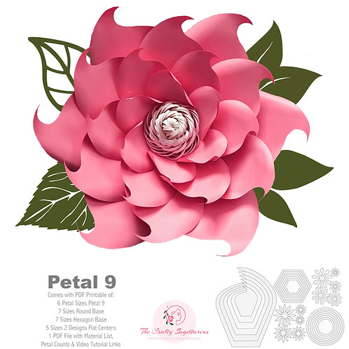 PDF Petal 9 Printable Paper Flowers Template  with Base & Flat Center