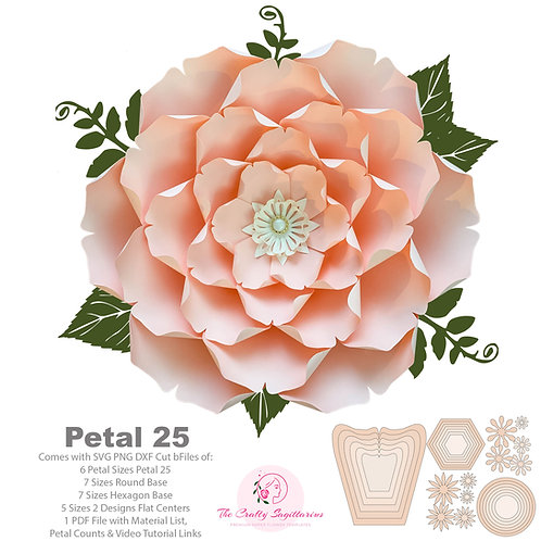 SVG PNG DXF Petal 25 Cut Files Paper Flowers Template for Cutting Machines