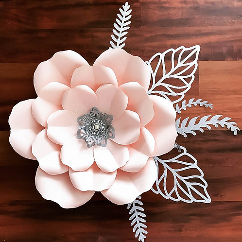 PDF Petal # 165 Paper Flower Template with Base- Trace and Cut File