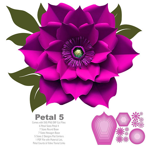 SVG PNG DXF Petal 5 Paper Flowers Template Flat Centers and Base Included Cut Fi