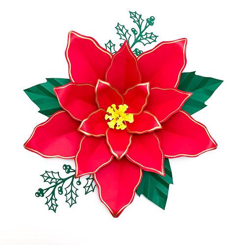 PDF Paper Flowers Poinsettia 4 Templates 3d DIY Paper flower  Christmas Decor