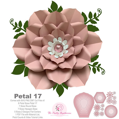 Petal 17 SVG PNG DXF Giant Paper Flowers Template Kit / Stencils Diy Projects