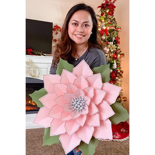 "PDF 25"" Giant Poinsettia Paper Flower Templates 3d DIY Paper flower  Christmas"