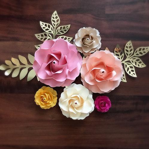 SVG Paper Flower Tiny Rose #1 Template, DIY Handmade Paper Flowers