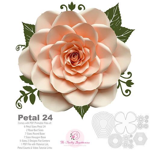 "PDF Petal 24 Printable DIY Giant Paper Flower Template Make Unlimited 20"" Rose"