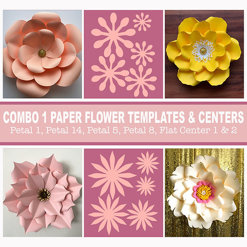Combo 1 SVG PNG DXF Giant Paper Flower Templates | 3D Flower Pattern Stencil |