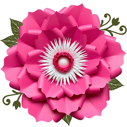SVG PNG DXF Petal 22 Paper Flowers Template Flat Centers and Base Included