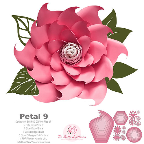 SVG PNG DXF Petal 9 Paper Flowers Template For Cutting Machine