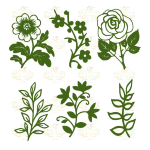 Set 35 Svg Png Dxf 6 different Leaves for Paper Flowers- MACHINE use Only
