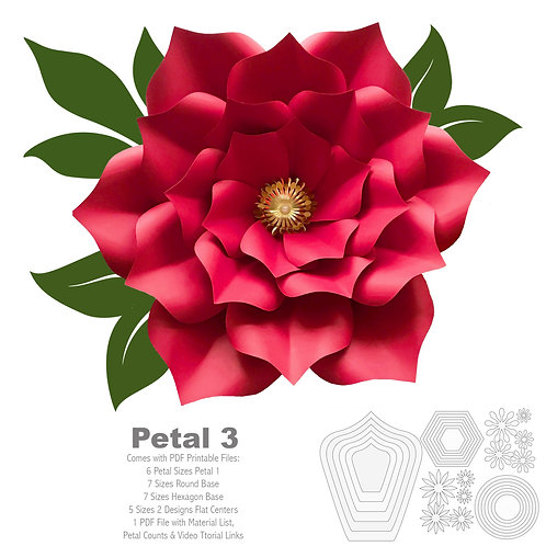 PDF Petal 3 Printable Paper Flower Template with Base Trace and Cut File