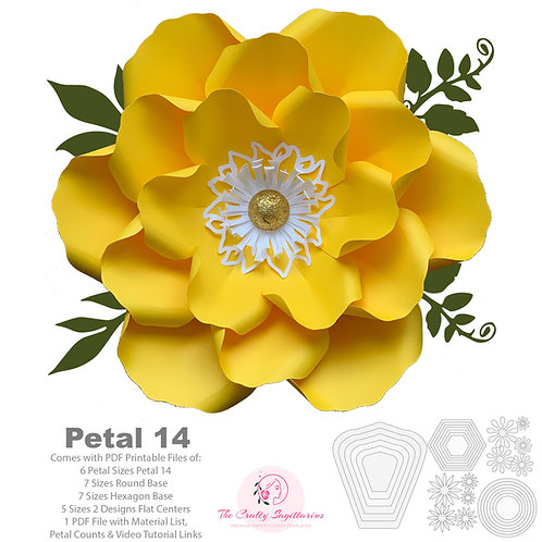 PDF Petal 14 DIY Paper Flowers Printable Template Comes with Flat Centers & Base