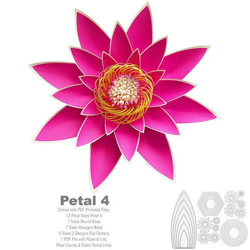 PDF Petal # 4 Paper Flower Template with Base,Trace and Cut File