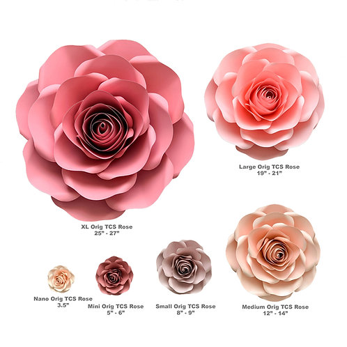 Paper Flowers PDF Combo of 6 sizes Rose Paper Flower Template Printable Files
